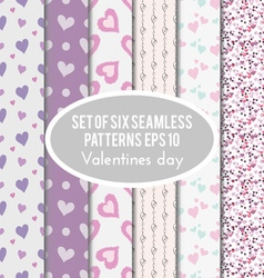 set of six seamless patterns on Valentines Day vector image