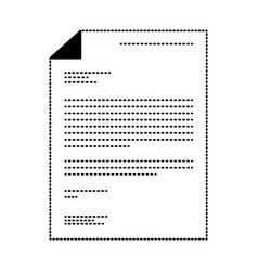 sheet document in black dotted contour vector image