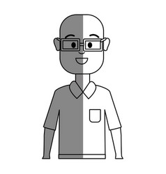 Silhouette happy man with glasses and shirt vector
