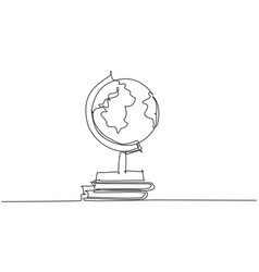 single one line drawing world globe round map vector image