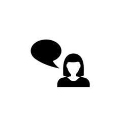Talking woman flat icon vector