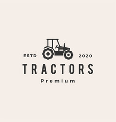 tractor hipster vintage logo icon vector image