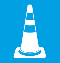 Traffic cone icon white vector