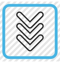 Triple Pointer Down Icon In a Frame vector