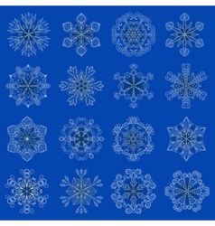 Vintage snowflake set in zentangle style 16 vector