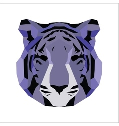 Violet low poly tiger vector