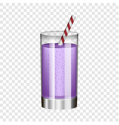 Violet smoothie in glass mockup realistic style vector