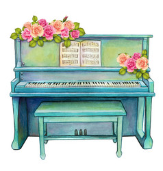 Watercolor turquoise upright piano with roses vector