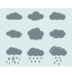 weather icons set clouds and rain vector image