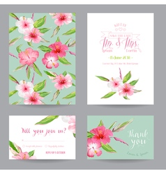 Wedding Invitation or Congratulation Card Set vector