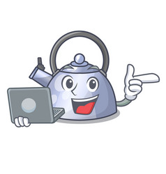 with laptop cartoon whistling kettle for gas vector image