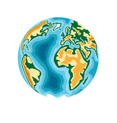 world planet earth in 3d paper cut style design vector image