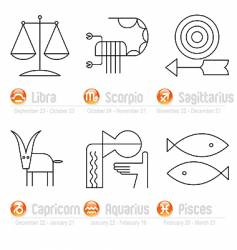 Zodiac geometric signs part two vector