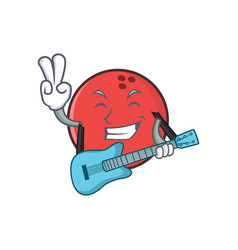 bowling ball character cartoon with guitar vector image