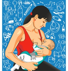 Mother feeds baby vector image vector image