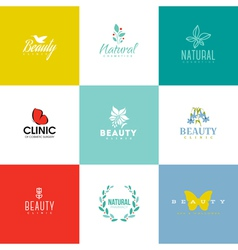 Set of beauty and nature logo templates and icons vector image vector image