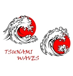 Tsunami waves with red sun behind vector image vector image