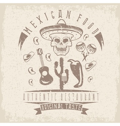 Grunge emblem of restaurant with skull in mexican vector