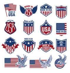 made in usa labels emblems with american symbols vector image vector image