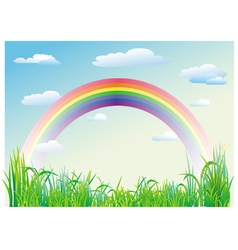 rainbow on a background of blue sky vector image vector image
