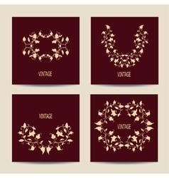 Set of cards with vintage design Floral vector image vector image