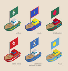 set of isometric ships with flags of asia vector image vector image