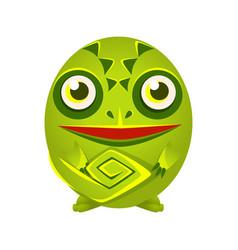 Cute green chameleon geometric amphibian colorful vector