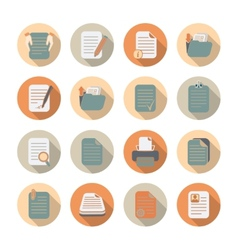 Documents Files and Folders Icons Set vector image