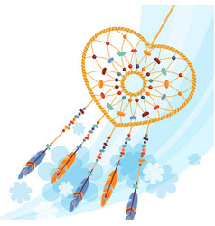 dream catcher handmade willow hoop on which woven vector image vector image