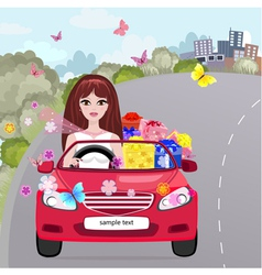 Gifting Girl Convertible vector image vector image