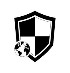 single shield and earth globe icon vector image