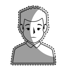 Sticker silhouette half body man with t-shirt vector
