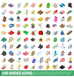 100 shoes icons set isometric 3d style vector image vector image