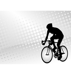 bicyclist silhouette on the abstract background vector image vector image