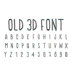 Colorful old 3D font stereoscopic effect vector image
