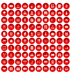 100 camera icons set red vector