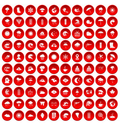 100 weather icons set red vector