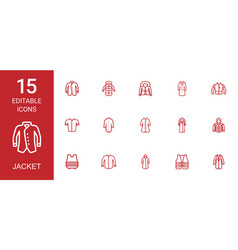 15 jacket icons vector image
