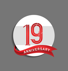 19 anniversary with white circle and red ribbon vector