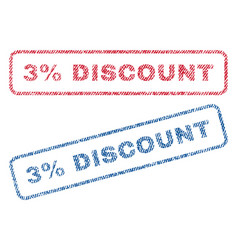 3 percent discount textile stamps vector