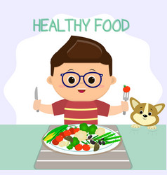 a boy in glasses sits at a table a plate of vector image