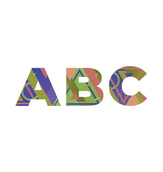 Abc concept retro colorful word art vector