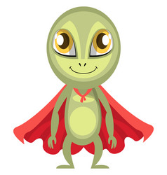 alien with red cape on white background vector image