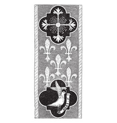 Altar cloth was embroidered by hand in gold vector