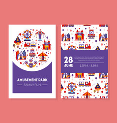 amusement park family fun card summer fair poster vector image