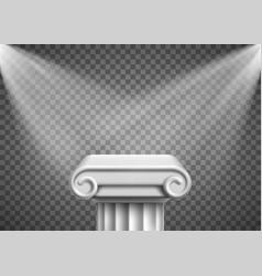 Antique column pillar pedestal with spotlights vector