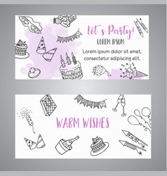 Birthday party doodle banner template vector