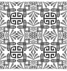 Black and white floral greek seamless pattern vector