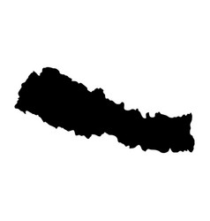 black silhouette country borders map of nepal on vector image