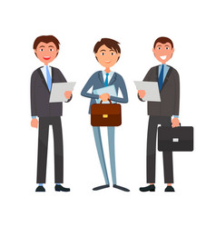 Business affairs of businessmen holding documents vector